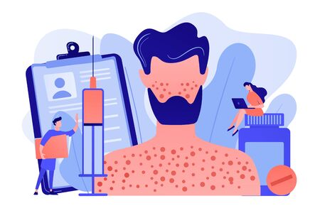 Doctors and male patient with rush on skin allergic to pills and a syringe. Drug allergy, triggers of drug allergies, allergy risk factors concept. Pinkish coral bluevector vector isolated illustration