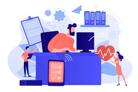 Businessman working at smart desk controlling his heart rate and position change. IOT office desk, health tracking, working activity place concept. Pinkish coral bluevector isolated illustration Standard-Bild - 134704969
