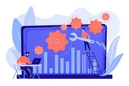 컴퓨터 하드웨어 및 소프트웨어를 수리하는 기술 지원 담당자입니다. 문제 해결, 문제 해결, 문제 확인 개념. 분홍빛이 도는 산호 bluevector 격리 된 그림