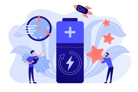 Engineers with battery charging, clock and stars with rocket. Fast charging technology, fast-charge batteries, new battery engineering concept. Pinkish coral bluevector isolated illustration