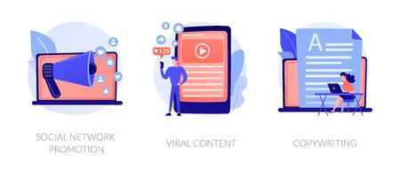 Digital marketing types icons set. SMM, influencer online advertising. Social network promotion, viral content, copywriting metaphors. Vector isolated concept metaphor illustrations. 向量圖像