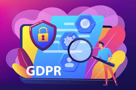 GDPR and cyber security, confidential database. General data protection regulation, personal information control, browser cookies permission concept. Bright vibrant violet vector isolated illustration Illusztráció