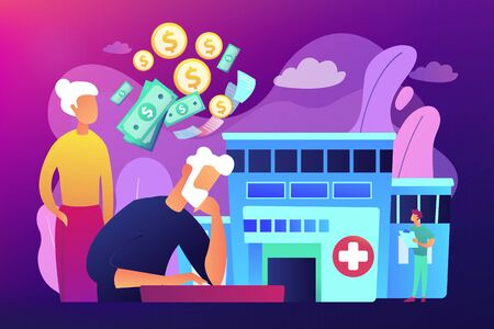 Pensioners social security. Healthcare expenses of retirees, supplemental health insurance plan, the biggest retirement expenses concept. Bright vibrant violet vector isolated illustration
