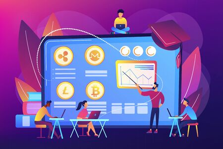Financial literacy education, e business school. Cryptocurrency trading courses, crypto trade academy, learn how to trade cryptocurrency concept. Bright vibrant violet vector isolated illustration Vetores