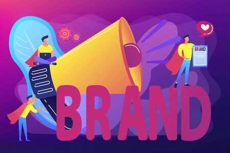 Company identity, marketing and promotional campaign. Personal brand, self-positioning, individual brand strategy, build your personal brand concept. Bright vibrant violet vector isolated illustration Vectores