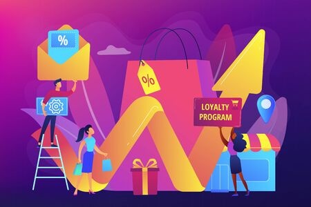 Rewards program. Marketing strategy. Retail promotion. Promotional mix, combination of promotional methods, best promotional tools concept. Bright vibrant violet vector isolated illustration