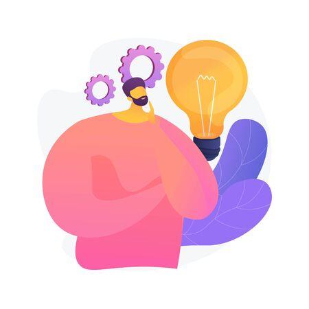 Business idea generation. Plan development. Pensive man with lightbulb cartoon character. Technical mindset, entrepreneurial mind, brainstorming process. Vector isolated concept metaphor illustration Ilustracje wektorowe