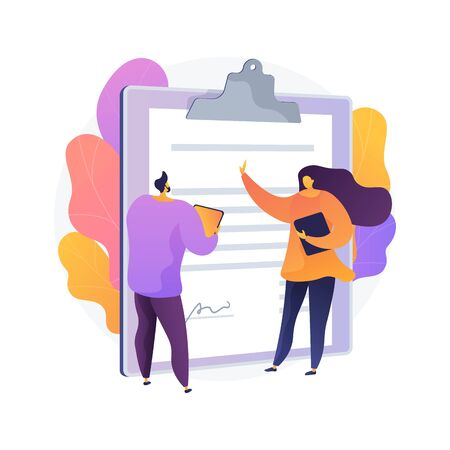 Document signing. Partnership deal, business consultation, work arrangement. Client and assistant writing contract cartoon characters. Vector isolated concept metaphor illustration Vecteurs