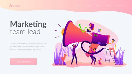 Marketing team landing page template. Illustration