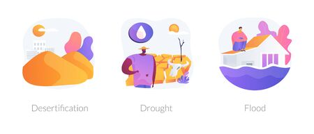 Global warming consequence, climate change outcome. Wildlife extinction, sea level and landscape changing. Desertification, drought, flood metaphors. Vector isolated concept metaphor illustrations. Vector Illustration