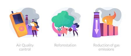 Environment protection measures, flora restoration, atmosphere purification vector concept metaphors. Illustration