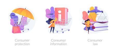 Derechos y responsabilidades del cliente. Normativa de la relación comprador-vendedor. Protección al consumidor, información al consumidor, metáforas del derecho del consumidor. Ilustraciones de metáfora de concepto aislado de vector.