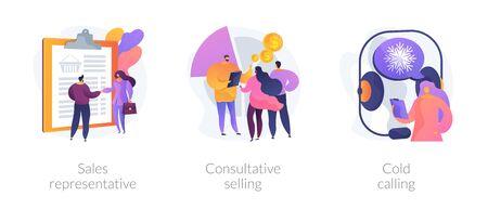 Stratégies marketing. Activités de promotion des ventes, support client et publicité. Représentant des ventes, vente consultative, métaphores d'appel à froid. Illustrations de métaphore de concept isolé de vecteur.