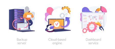 Tecnología de alojamiento de datos. Seguridad informática en la nube. Acceso remoto, almacenamiento en red. Servidor de respaldo, motor basado en la nube, metáforas de servicio de tablero. Ilustraciones de metáfora de concepto aislado de vector