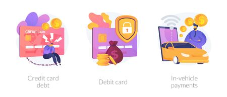 Personal finance idea. Online banking, digital currency. Money debt, financial operation. Credit card, debit card, in-vehicle payments metaphors. Vector isolated concept metaphor illustrations