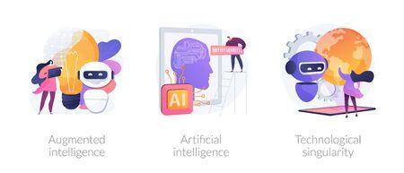 Progresso tecnologico mondiale e innovazioni moderne. Intelligenza aumentata, intelligenza artificiale, metafore della singolarità tecnologica. Illustrazioni di metafora di concetto isolato vettoriale.
