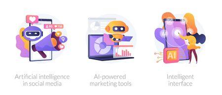 Artificial intelligence in business vector concept metaphors.