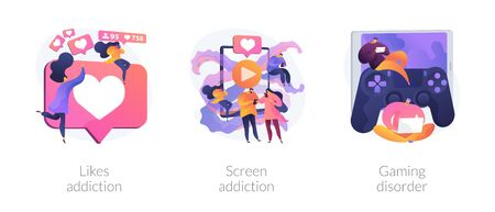 Technology addiction, lack of live communication, psychological problems. Likes addiction, screen addiction, gaming disorder metaphors. Vector isolated concept metaphor illustrations.
