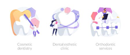 Cosmetic dentistry vector concept metaphors. 일러스트