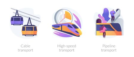 Long distance passenger vehicles vector concept metaphors. 向量圖像