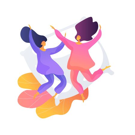 Girlfriends in pyjamas at hen party, Overnight stay, pajama party, sleepover fun. Childhood activity. Cheerful teenage girls and pillow. Vector isolated concept metaphor illustration 向量圖像