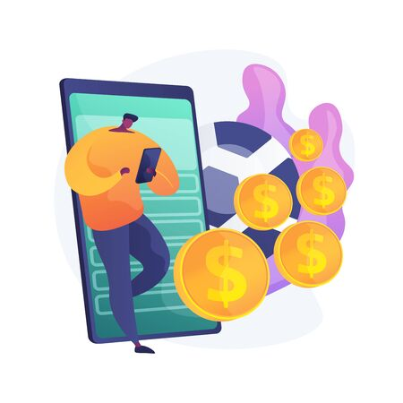 Man with smartphone, gambler placing football bets. Mobile gambling addiction, sports betting application, soccer match results prediction. Vector isolated concept metaphor illustration