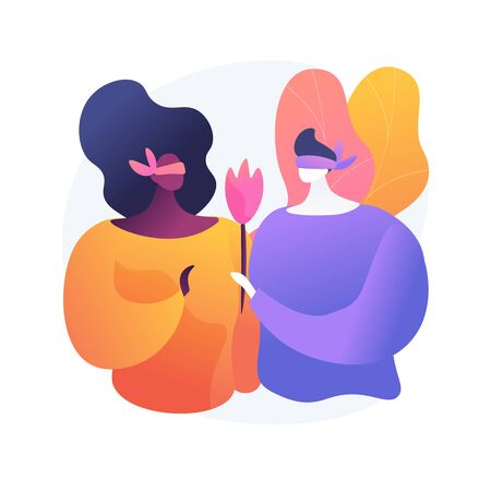 Young man and woman on blind date. Romantic surprise, amorous feelings expression, blindfolded lovers. Boyfriend giving girlfriend flower. Vector isolated concept metaphor illustration