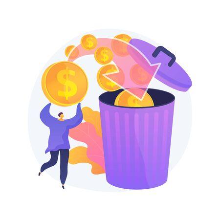 Money waste vector concept metaphor