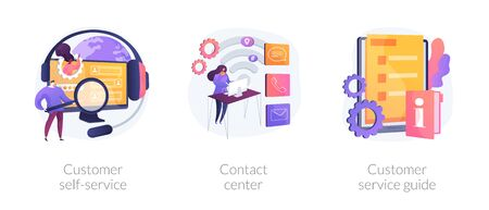 Client support online helpline. Digital product maintenance tutorial. Customer self-service, contact center, customer service guide metaphors. Vector isolated concept metaphor illustrations Illustration