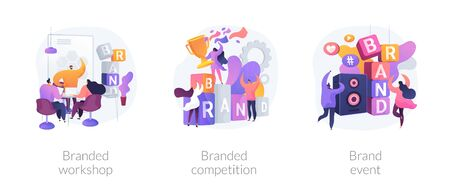 Marketing strategies for company promotion. Marketplace leadership achievement. Branded workshop, branded competition, brand event metaphors. Vector isolated concept metaphor illustrations