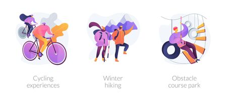 Outdoor sport activities icons set. Cycling experiences, winter hiking, obstacle course park metaphors. Training, exercising, trekking. Vector isolated concept metaphor illustrations Vectores