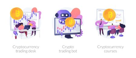 Cryptocurrency trading vector concept metaphors