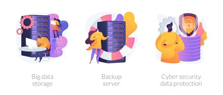 Big data storage and protection vector concept metaphors Illustration