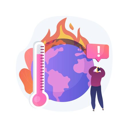 Earth climate change, temperature increase, global warming vector concept metaphor.