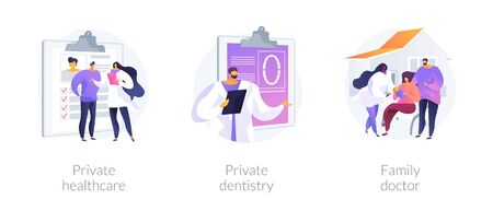 Private medical services abstract concept vector illustrations.