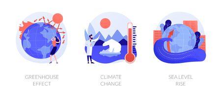 Effet de serre, changement climatique, élévation du niveau de la mer. Effet de réchauffement climatique. Rayonnement ultraviolet, contamination alimentaire, métaphores des pluies acides. Illustrations de métaphore de concept isolé de vecteur.