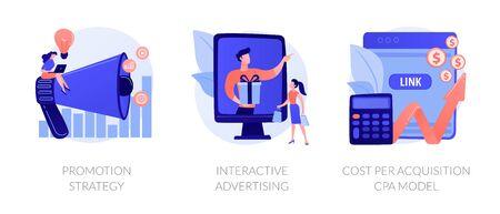 Promotion techniques vector concept metaphors. Stock Illustratie