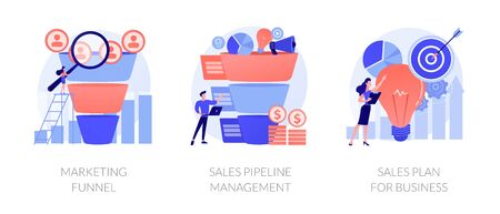 Customer engagement. Sales conversions and traffic increase strategies. Marketing funnel, sales pipeline management, sales plan for business metaphors. Vector isolated concept metaphor illustrations. Stock Illustratie