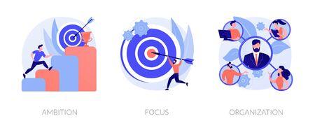 Business determination and development. Self improvement, marketing target, corporate management. Ambition, focus, organization metaphors. Vector isolated concept metaphor illustrations. Vector Illustration