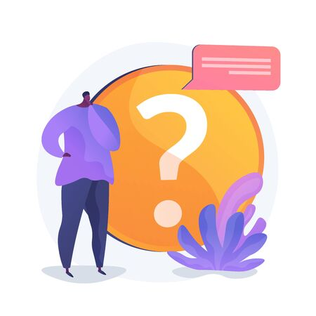Website FAQ section. User helpdesk, customer support, frequently asked questions. Problem solution, quiz game Confused man cartoon character. Vector isolated concept metaphor illustration 向量圖像