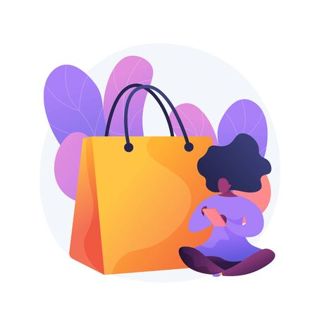 Mobile shopping addiction. Big sale, online wholesale, low price sellout idea design element. Digital store customer, shopaholic holding smartphone. Vector isolated concept metaphor illustration