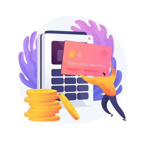Financial transactions, money operations. Payment options, cash and cashless, contactless payment. Credit card shopping idea design element. Vector isolated concept metaphor illustration Ilustracja