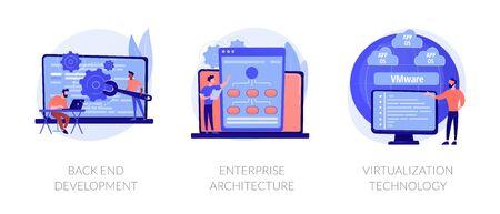 Software engineering, franchise building, cloud computing icons set. Back end development, enterprise architecture, virtualization technology metaphors. Vector isolated concept metaphor illustrations