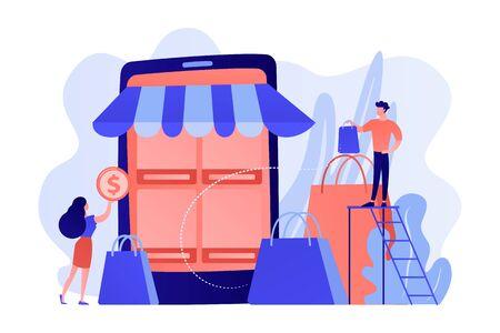 Mobile based marketplace concept vector illustration.