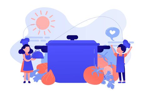Cooking camp concept vector illustration.