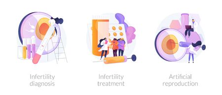Pregnancy planning, reproductive function problems. Infertility diagnosis, infertility treatment, artificial reproduction metaphors. Vector isolated concept metaphor illustrations.