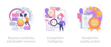 Company success guarantees. Business continuity and disaster recovery, competitive intelligence, standard for quality control metaphors. Vector isolated concept metaphor illustrations.