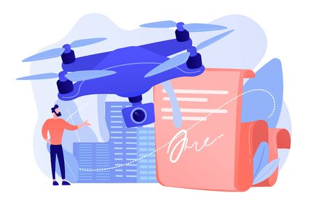 Drone flying regulations concept vector illustration.