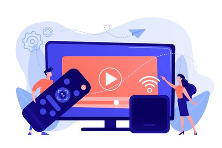 Tiny people watch video with remote control and television multimedia box. Smart TV box, smart tv console, make your TV smart concept. Pinkish coral bluevector isolated illustration Иллюстрация