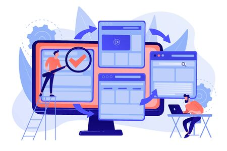 Digital technology. Search engine optimization. Website constructor. Microsite development, small web page, microsite web design concept. Pinkish coral bluevector isolated illustration